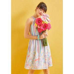 ModCloth Pastel Floral Striped Halter Midi Dress